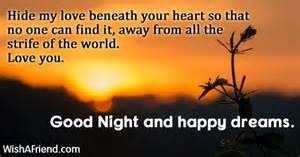 Hide my love beneath your heart good night message for boyfriend