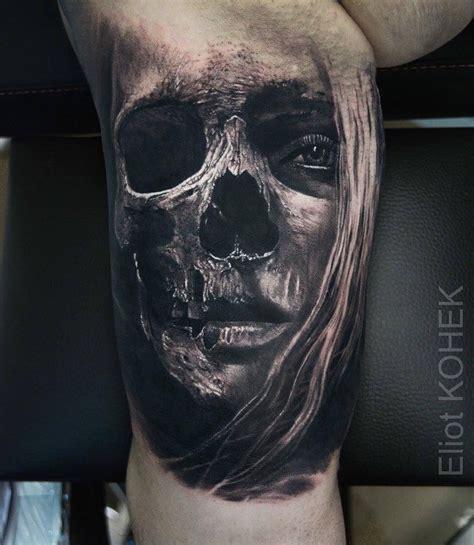 skull face tattoo realism from eliot kohek skulls tattoos skull
