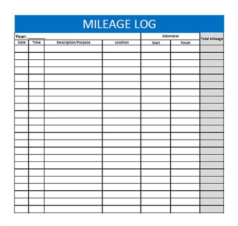 Microsoft Excel Mileage Log Template by 8 Mileage Log Templates Free Word Excel Pdf Documents