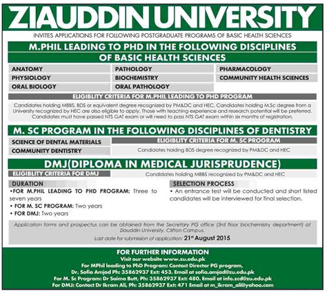 Mba In Healthcare Management In Karachi by Ziauddin Karachi Admission In Diploma Msc