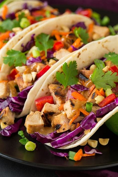 thai chicken tacos with peanut sauce cooking classy