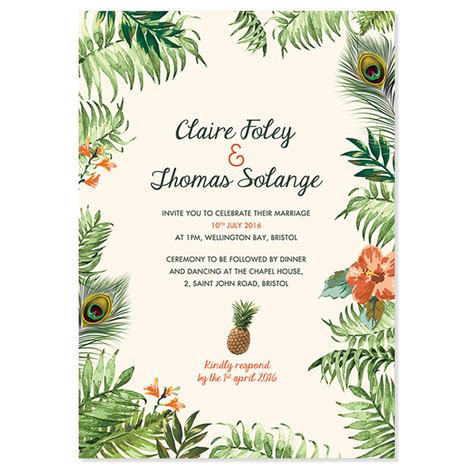 Tropical Wedding Invitations by Tropical Jungle Wedding Invitation By Pepper
