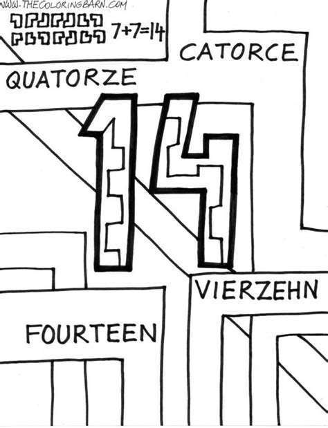 number 14 coloring page coloring home