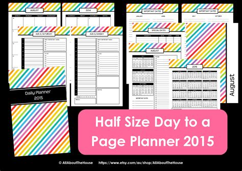 free printable planner pages half size 7 best images of mom planner organizer printable pdf