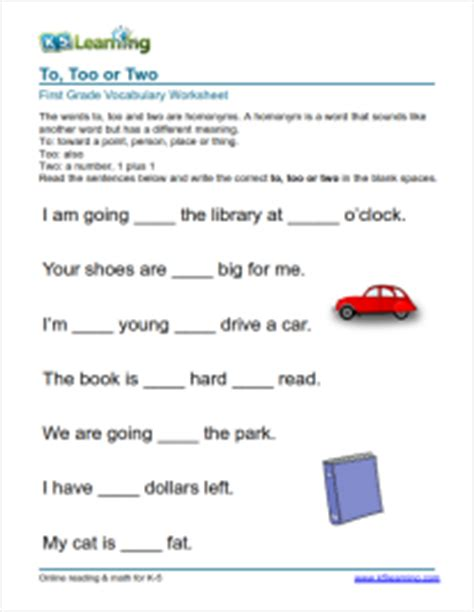 Practice Book For Grammar Vocabulary Comprehension Primary 3 grade 1 vocabulary worksheet quot to two quot school ideas