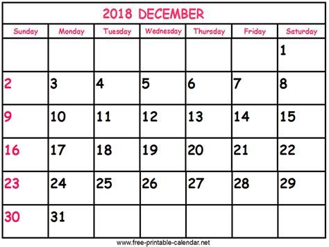 printable calendar for december 2018 print calendar 2018 december
