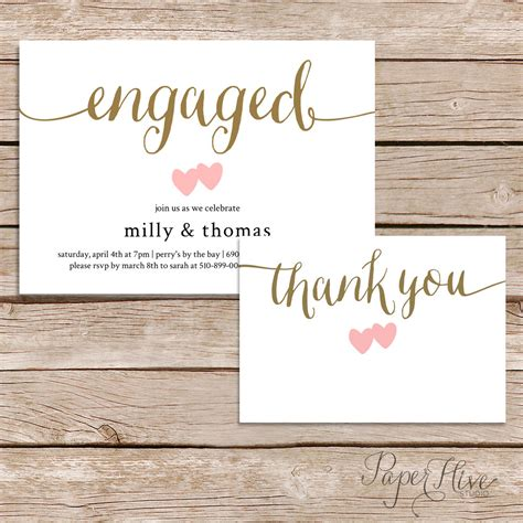 engagement thank you card template printable engagement invitation and thank you card set