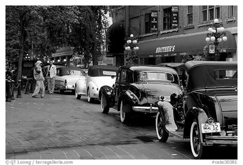old cars black and white black and white picture photo classic cars in gastown
