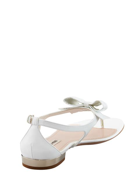 white bow sandals lyst miu miu patent bow sandal white in white