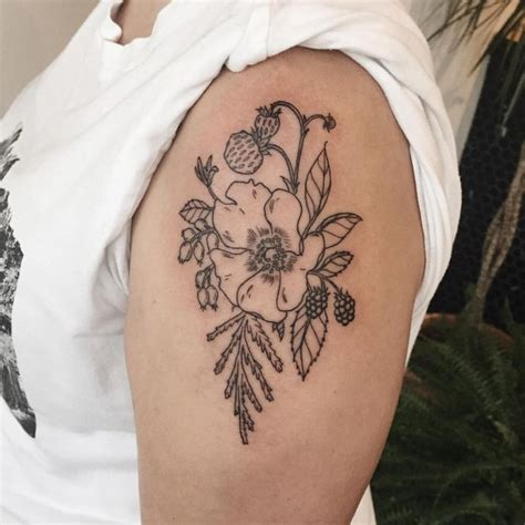 rose branch tattoo strawbs saskatoon berries blackberries and a