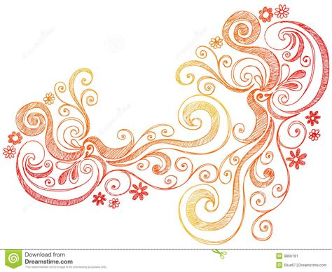 free doodle border vector flowers and swirls doodle vector border stock image