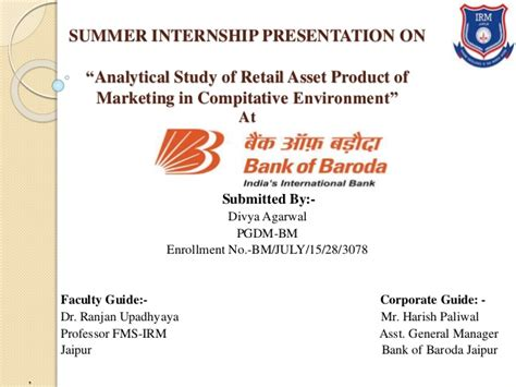 Summer Internship For Mba Students In Banks by Retail Asset Products Of Bank Of Baroda