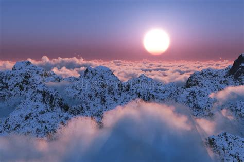 mountain sunset   clouds stock image image