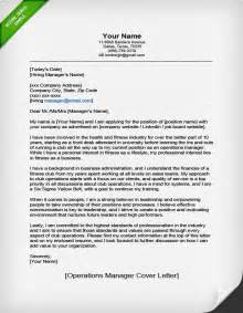 Cover Letter For Operations Manager by Operations Manager Cover Letter Sle Resume Genius