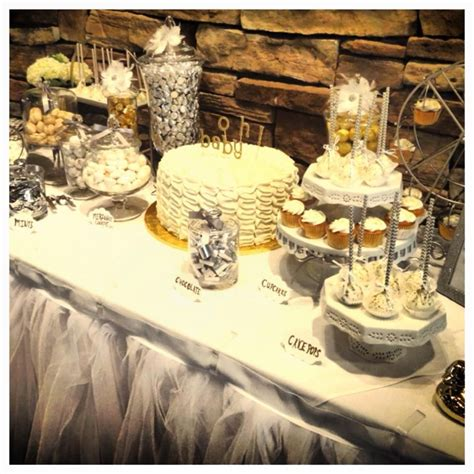 White And Gold Baby Shower Theme by White Silver Gold Theme Baby Shower Dessert