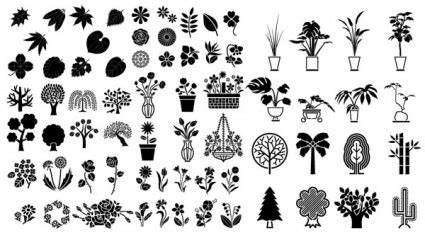 berbagai elemen vektor silhouette elemen bunga  pohon