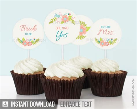 chagne and cupcakes bridal shower theme floral bridal shower ivory printable cupcake toppers my design