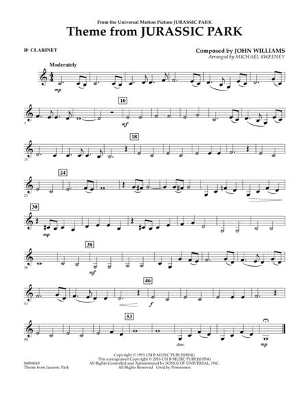 theme music to jurassic park download theme from jurassic park bb clarinet sheet