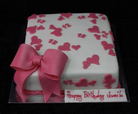 Cake Decorating Stencils Square Cake Pink Amp White