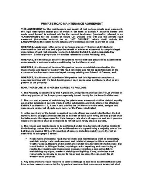 sle roadmap template road agreement template 28 images sle road maintenance