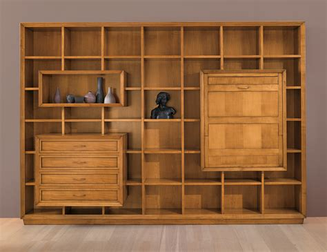 Bookcase Wall Unit Gio Cmp 004 Italian Designer Modular Cherrywood Wall Unit