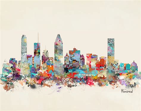 Home Decor Montreal Montreal Quebec Skyline Painting By Bleu Bri