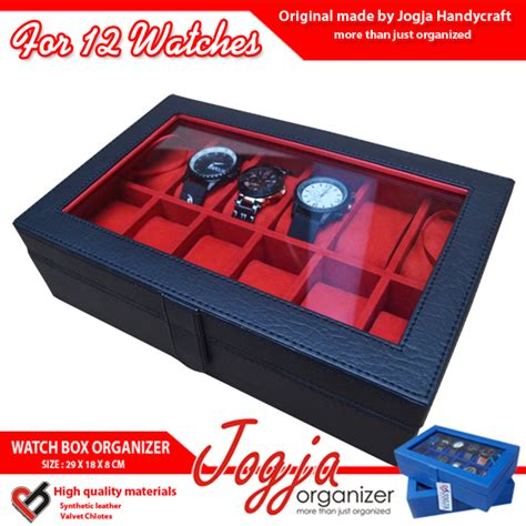 Kotak Tempat Jam Tangan Isi 12 Hitam Inner Coklat varian warna kotak tempat jam tangan isi 12 jogja handycraft jogja handycraft suplier