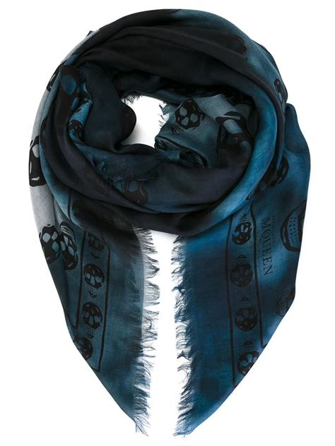 mcqueen skull scarf in blue for lyst