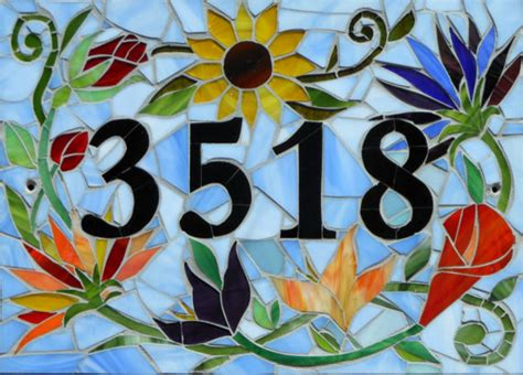 mosaic house number designs custom made mosaic house number sign house numbers by etsy