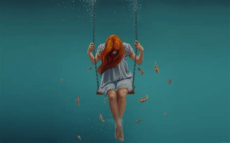 art swing swing art painting girl dark dress beauty fish wallpaper