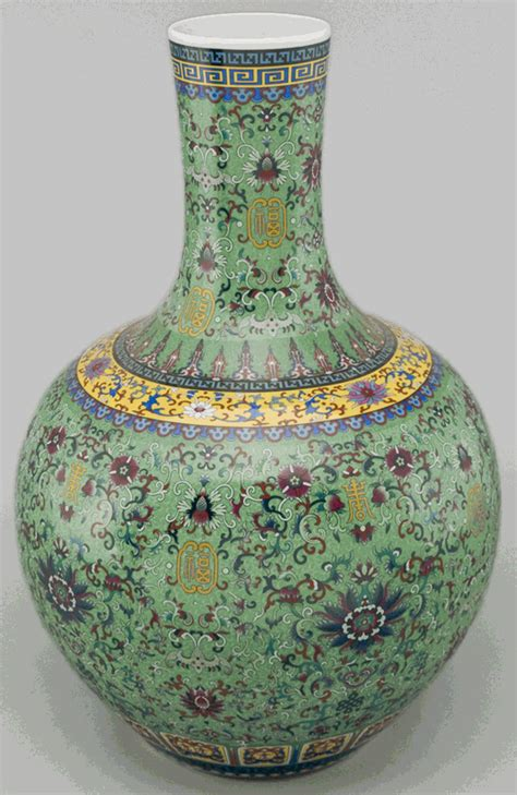 Asian Decor: Hand Painted Green Porcelain Vase from Jingdezhen, China