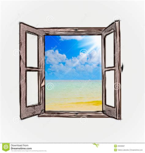 Ocean Curtains Sea View Through An Open Window Royalty Free Stock