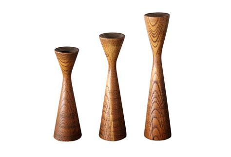 Wooden Candle Holders Mid Century Wooden Candle Holders S 3 Omero Home