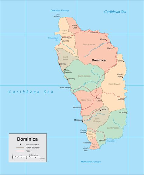 dominica on a map dominica map detailed map of dominica