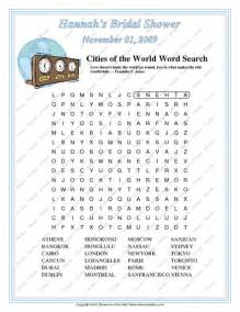 Bridal shower games cities of the world word search game