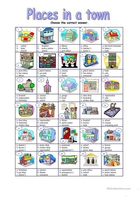 shops in my town worksheet free esl printable worksheets places in a town multiple worksheet free esl printable