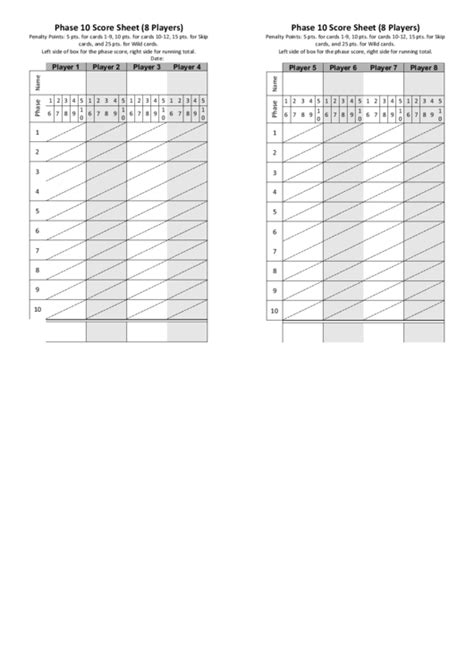 phase  score sheet template  players printable