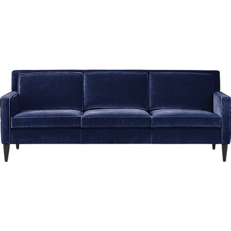 velvet blue couch pennie sofa furniture crate and barrel and crates