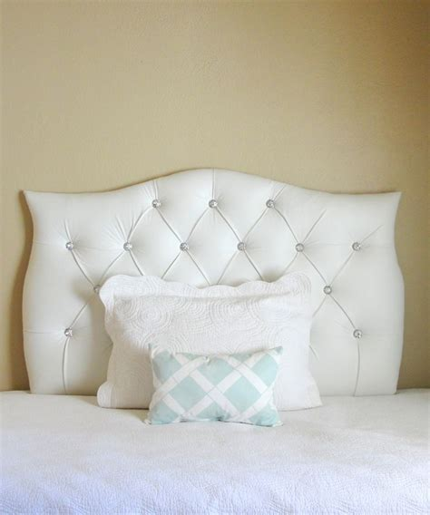 White Tufted Headboard With Crystals by Tufted Upholstered Custom Headboard White Faux Leather