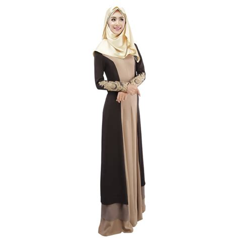 muslim in islamic dress robe fashion fit big yards spell color dress ethnic arab and