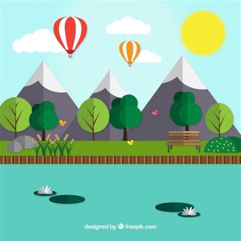 flat design free vector landscape with mounstains in flat design vector free