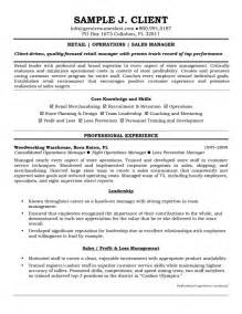 Resume Template For Retail by 14 Retail Store Manager Resume Sle Writing Resume Sle Writing Resume Sle