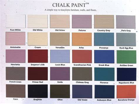 color chart sloan chalk paint for the home paint colors colors and chalk