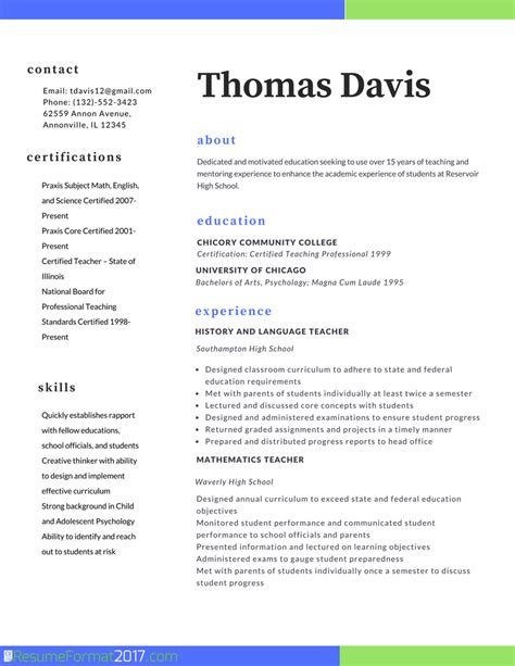 Sample Resume Format For Teacher Job by Teacher Professional Resume Format 2017 Resume Format 2017