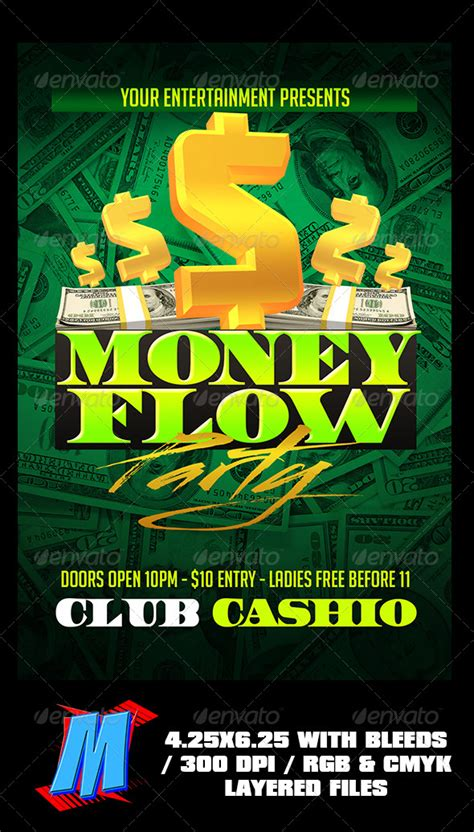 Money Flow Party Flyer Template By Megakidgfx Graphicriver Money Flyer Template