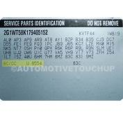 Chevrolet Paint Code Locations  Touch Up