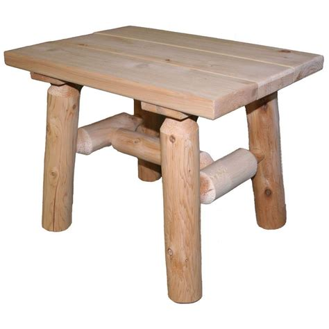 Lakeland Mills 23 In X 17 In Cedar Log Patio End Table Cedar Patio Table