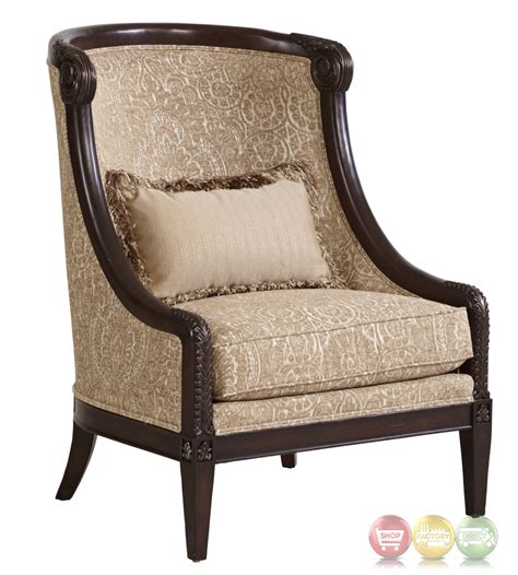 Wooden Accent Chair Giovanna Beige Italian Azure Accent Chair With Carved Wood Frame