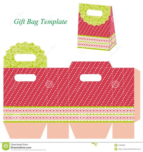 gift bag card template gift bag template with dots and ribbon stock vector