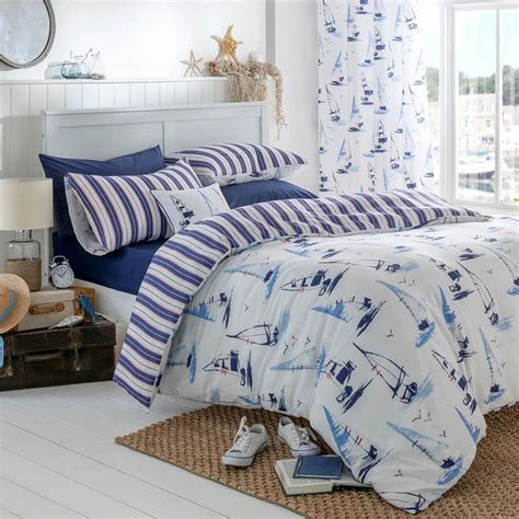 nautical bed sets catherine lansfield padstow nautical white stripe duvet